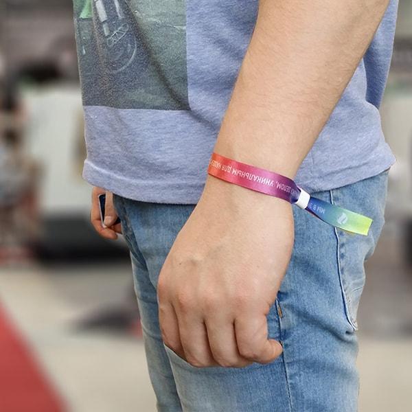 Контрольный браслет, полноцветная печать на атласной ленте