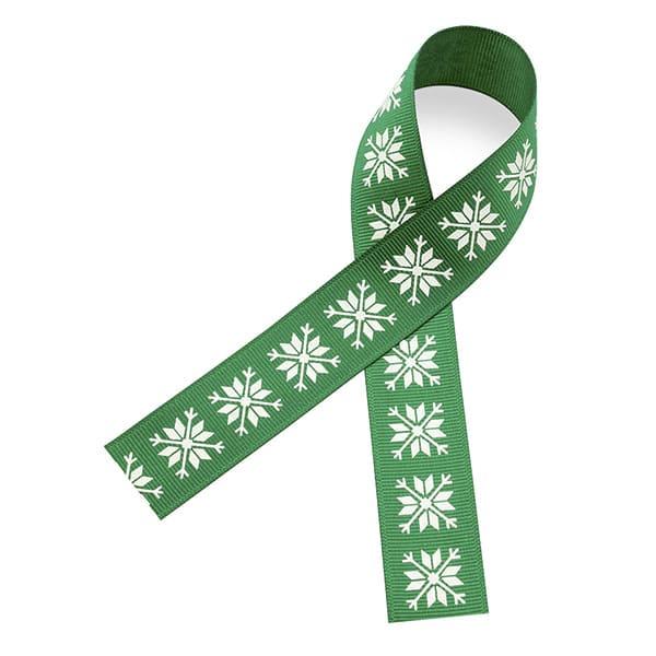 атласная лента в рубчик зеленого цвета с белой печатью