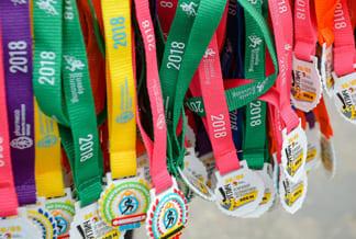 Цветные ленты для медалей с печатью шелкография