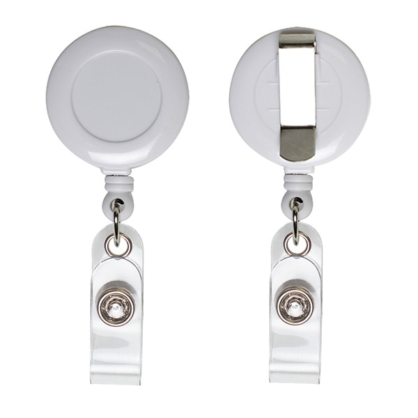 Ретрактор круглый белого цвета с металлической нитью