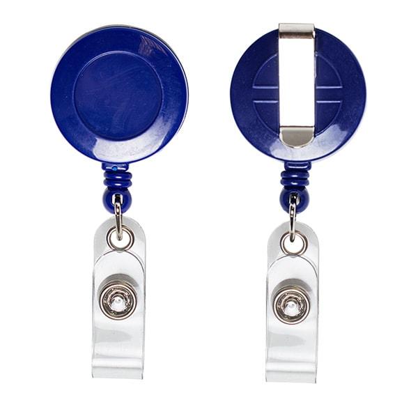 Ретрактор круглый синего цвета с металлической нитью