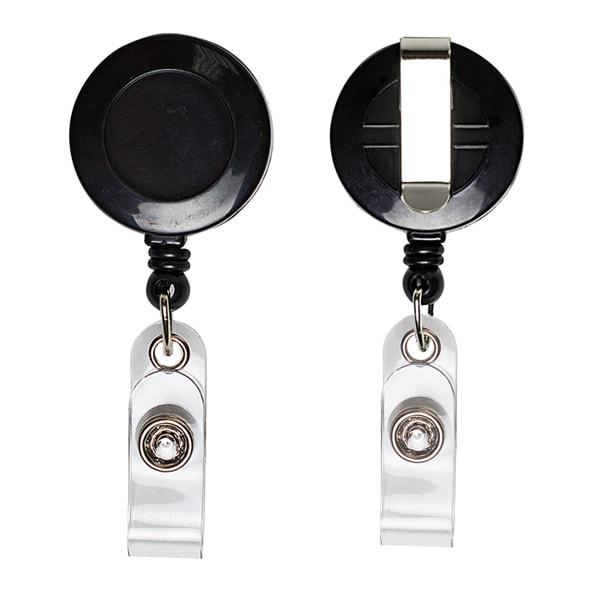 Ретрактор круглый черного цвета с металлической нитью