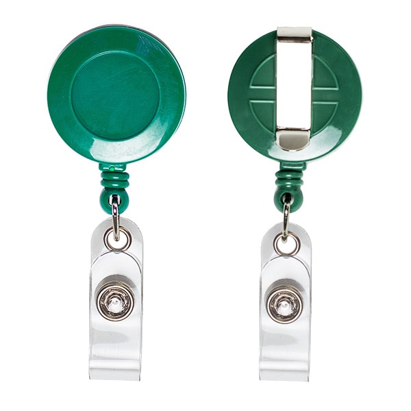 Ретрактор для бейджей круглый зеленого цвета