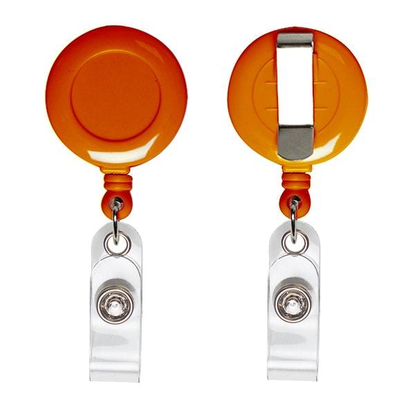 Ретрактор для бейджей круглый оранжевого цвета