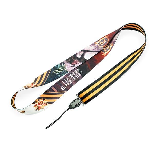 Лента для бейджа с полноцветной печатью, шириной 20мм с креплением фастекс для мобильного телефона